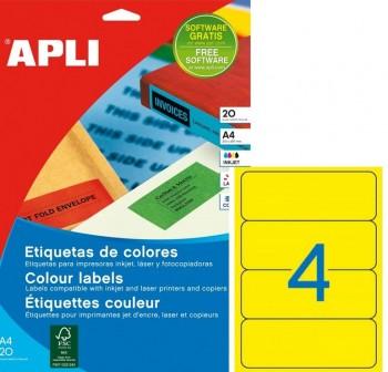 Pack 80 etiquetas color cantos romos 190X61mm amarillo