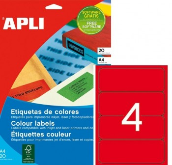 Pack 80 etiquetas color cantos romos 190X61mm rojo
