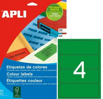 Pack 80 etiquetas color cantos romos 190X61mm verde
