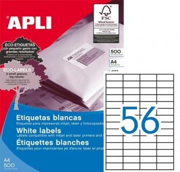 APLI Etiqueta i/l/c adh.perm.c/recto a4 c-500 (52,5x21,2mm 5600unds)