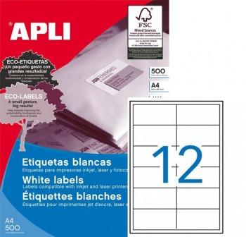 APLI Etiqueta i/l/c adh.perm.c/recto a4 c-500 97x42,4 mm 6000unds