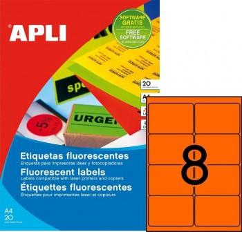 Pack 160 etiquetas color cantos romos 99,1x67,7mm naranja fluor