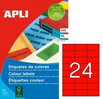 Pack 2400 etiquetas color cantos rectos 70X37mm rojo