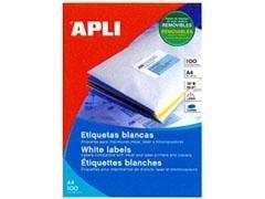 APLI Etiqueta A4 inkjet / laser / copy adhesiva removible cantos rectos
