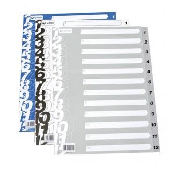 GRAFOPLAS Separador folio numerico del 1-12 en color AZUL