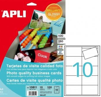 Pack 100 tarjetas visita bordes lisos calidad foto 250gr A4 89x51mm