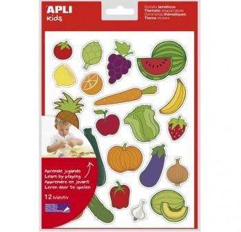 Pack 240 gomets removibles tematicos frutas y verduras