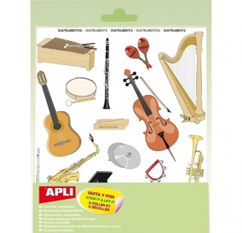 Pack 51 gomets removibles instrumentos musicales