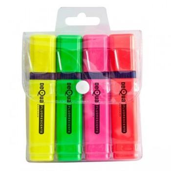 Blíster 4 fluorescentes Dequa (amarillo, verde, naranja y rosa)