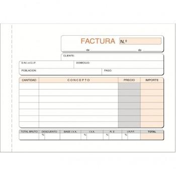 DEQUA Talonario facturas 1/4 apaisado 21x15 cm duplicado autocopia