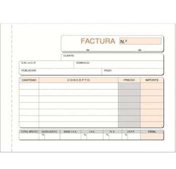 DEQUA Talonario facturas 1/4 apaisado 21x15 cm triplicado autocopia