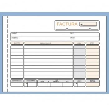 DEQUA Talonario facturas catalán 1/4 apaisado 21x15 cm duplicado autocopia