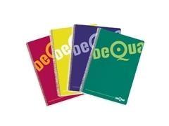 Cuaderno tapa dura Dequa 80h cuadricula 4x4 cuarto colores surtidos