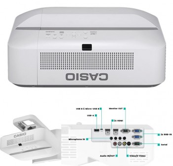 CASIO  Videoproyector ultra corto XJ-UT351W 3500AL, WXGA, ratio 0,28:1 contraste 20000:1, 1,07 billo