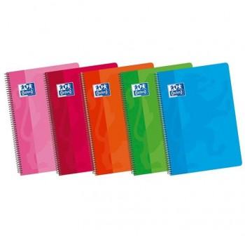 Pack 5 cuadernos espiral Oxford tapas blandas 4º cuadrícula 4x4 80h colores surtidos
