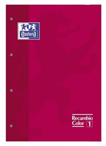 Recambio Oxford color tapas blandas A4+  80 5x5 rojo