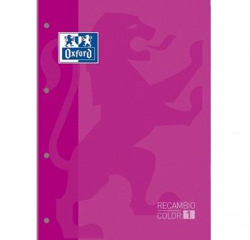 Recambio Oxford color tapas blandas A4+  80 5x5 rosa