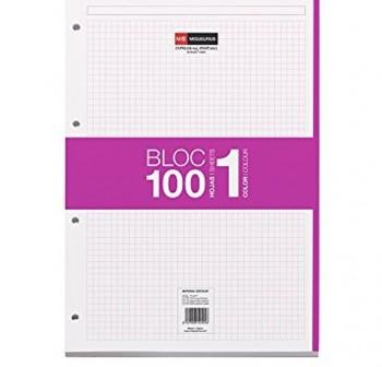 Recambio cuaderno microperforado Note Book 100h cuadrícula 5x5 A4 90 g fucsia