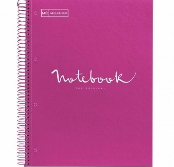 Cuaderno Miquel Rius espiral note book A4 120h 70gr/m2  cuadrícula 5x5 mm fucsia