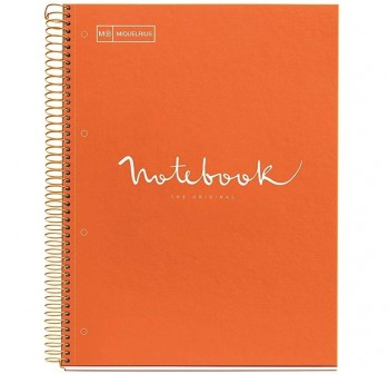 Cuaderno Miquel Rius espiral note book A5 120h 70gr/m2  cuadrícula 5x5 mm naranja