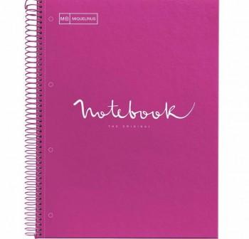 Cuaderno Miquel Rius espiral note book A5 120h 70gr/m2  cuadrícula 5x5 mm fucsia