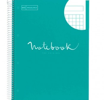 Cuaderno Miquel Rius espiral note book A5 120h 70gr/m2  cuadrícula 5x5 mm azul turquesa