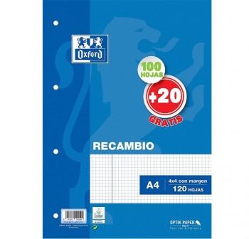 Oxford Recambio 100h + 20h gratis 90g 4 taladros cuadrícula 4x4 A4