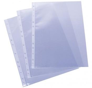 Caja 100 fundas Portadocumentos pp liso extra 16 taladros folio transparente