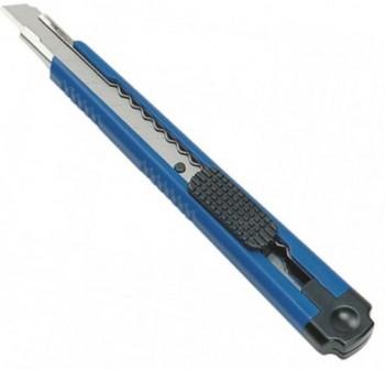 Cutter pequeño, azul, cuchilla 9 mm bloqueable