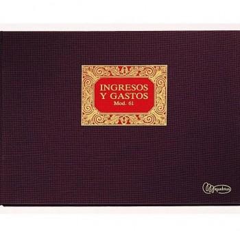 Cuaderno cartóne contabilidad nº61 ingresos y gastos folio apaisado 50h