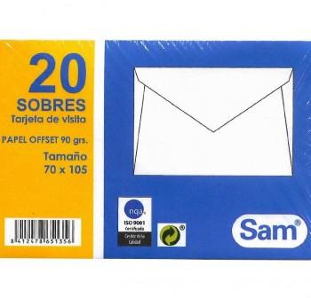 Caja 500 sobres tarjeta visita galgo 70X106mm
