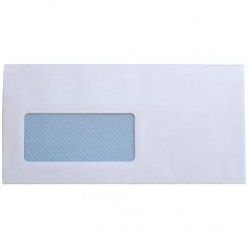 Caja 500 sobres DL 110x220 mm tira silicona 90grs blanco ventana izquierda