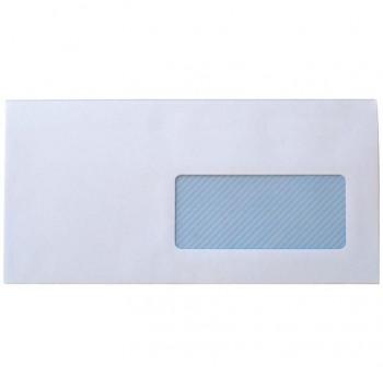 Caja 500 sobres americano DL 115x225 mm tira silicona 90grs blanco ventana derecha