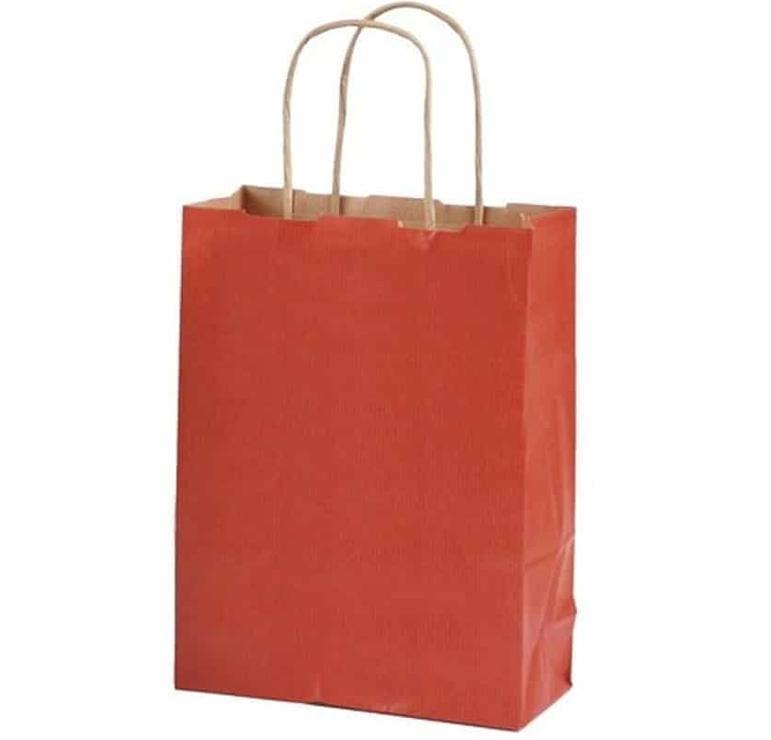 Pack 50 bolsas con asas kraft 100gr. 35x16x40cm. rojo