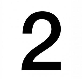 Bolsa 2 numeros autoAdhesivos individuales helvetica mayúscula 75 mm negros