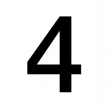 Bolsa 4 numeros del nº 4 autoAdhesivos individuales helvetica mayúscula 75 mm negros