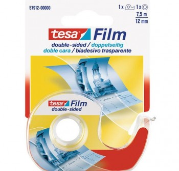 Rollo cinta adhesiva doble cara transparente Tesafilm  con dispensador 7,5m x 12mm