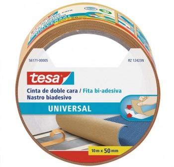 Rollo Cinta doble cara universal Tesa 10m x 50mm beige