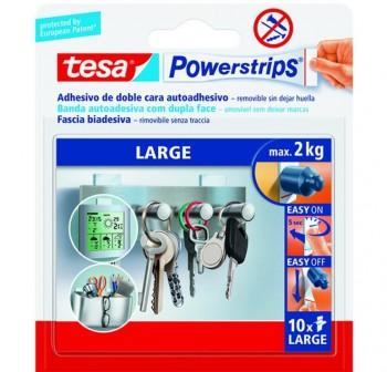 Tiras adhesivas doble cara grandes Powerstrips, 10 unidades