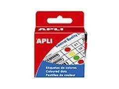 APLI Caja etiquetas redondas en colores diametro 15mm AMARILLO (150uds)