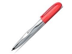 Bolígrafo Faber Castell N ice cuerpo de metal cromado brillante y botón color coral
