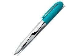 Bolígrafo Faber Castell N ice cuerpo de metal cromado brillante y botón color turquesa
