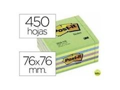 Bloc notas cubo Post-it 76x76mm azul/verde