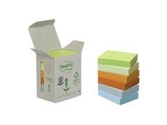Pack mini-torre 6 cubos notas recicladas Post-it 653-1GB 38x51mm colores pastel surtidos