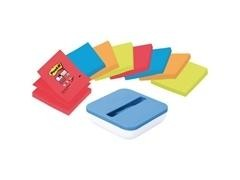 Dispensador Post-it  azul val  + 8 blocs ZNotas super sticky colores bora bora y bangkok colores sur