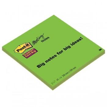 Pack 2 Blocs 203 x 203 mm Notas Post-it  Super Sticky. 45 hojas/bloc verde neón liso, sin encelofana