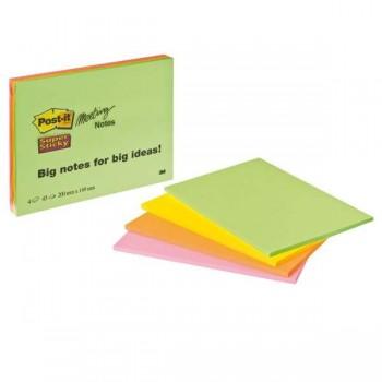 Pack 4 Blocs 203x152mm Notas Post-it Super Sticky NeOn Colores surtidos. 45 hojas/bloc