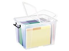 Caja multiuso ideal en oden apilable con tapa apertura 2 lados cierre con clips capacidad 40l medida