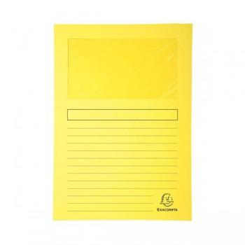 Pack 25 subcarpetas con ventana Exacompta 120gr 22x31cm color amarillo