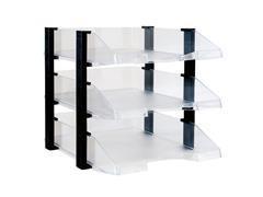 Set 3 bandejas de cristal transparente con elevadores color negro